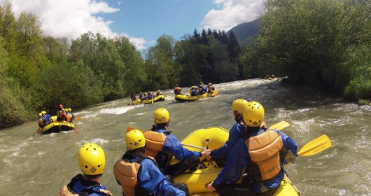 Family Rafting on the Noce river, in Val di Sole