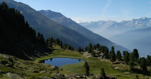 Trekking at the Cevedale's Lakes in the Stelvio Park