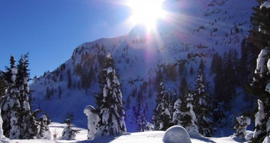 Snowshoeing at the Colbricon lakes